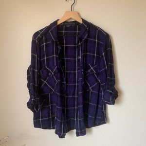 Sanctuary Purple Plaid Button Up
